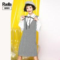 假两件背带裙女韩版2018新款学生显瘦衬衫长袖呢子连衣裙女