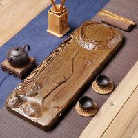 乌金石功夫茶盘鸡翅实木茶海家用茶具套装简约大号茶台排水式茶托