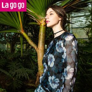 Lagogo拉谷谷圆领印花长袖T恤雪纺上衣两件套女打底衫休闲套装秋
