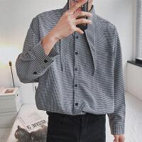 2018春季新款复古宽松个性领结款千格长袖衬衫格子衬衣男寸衫