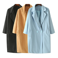 女装秋冬装新 韩国站纯色经典风衣毛呢外套女长袖中长