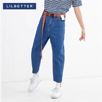 2.5折价:99;Lilbetter牛仔裤男潮牌宽松百搭裤子港风直筒韩版潮流九分牛仔裤