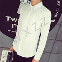 慈姑春秋韩版男长袖白衬衣青少年纯色打底衬衫休闲外套免烫寸衫商务潮