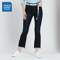 [秒杀价:87.9元,年货节限时抢购,仅限1.15-19]真维斯女装 2019秋装 高腰喇叭型九分牛仔裤
