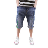 儿童短裤 男童薄款透气舒适牛仔中裤子夏季时尚韩版休闲中大童款休闲运动五分裤