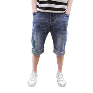 乌龟先森 儿童短裤 男童夏季韩版新款棉质单色大码含腰带五分裤时尚休闲百搭中大童款裤子