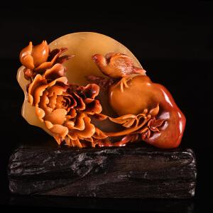《花开富贵摆件》天然寿山石取巧全手工精雕摆件