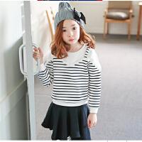秋冬女童卫衣新款韩版童装中大童加绒加厚条纹上衣潮