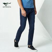 七匹狼牛仔裤春季男士青年时尚商务休闲五袋牛仔裤长裤
