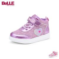 百丽Belle童鞋18冬季新款女童时尚亮片运动鞋加绒保暖户外休闲鞋甜美爱心趣味学生鞋(5-10岁可选)DE0837