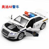 警车儿童玩具车模型开门回力合金车奥迪警车玩具小汽车男孩