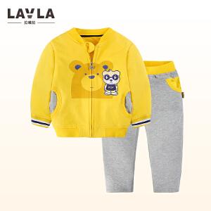 lavla套装 2018春装新款男童棒球套装中小童春秋套装儿童卡通衣服