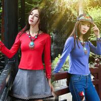 中国风女装秋装新款印花民族风上衣打底衫长袖圆领T恤女修身