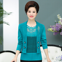 中老年女装春秋羊毛衫毛衣50-60岁妈妈秋冬装薄款开衫外套针织衫