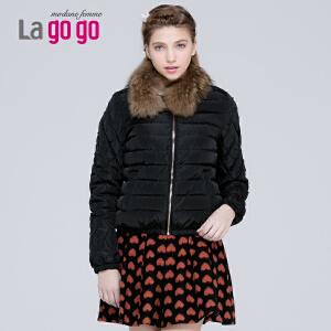 lagogo冬季黑色显瘦毛领羽绒服女短款加厚秋冬韩版修身女装外套