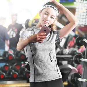 渔民部落 运动短袖t恤女跑步健身弹力速干透气瑜伽服