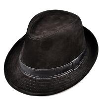 秋冬季男女士牛皮帽爵士帽中青年礼帽绅士帽保暖帽子