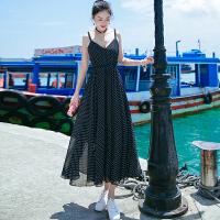 夏季新品女装无袖吊带中长裙子雪纺连衣裙波西米亚海边沙滩裙 图片色XZB647