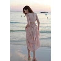 夏装新款女装背心长裙沙滩裙性感露背无袖大摆雪纺连衣裙 粉红色 S