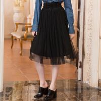 冬装新品 修身高腰绑带网纱裙子半身裙长裙女D741128Q00