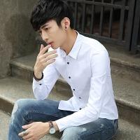新款2018男士长袖男士个性长袖衬衫秋冬纯色长袖衬衫男士韩版潮流