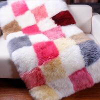 澳洲羊毛沙发垫羊毛飘窗垫定制整张羊皮地毯皮毛一体沙发坐垫 NZ自由方格色 定制/�O