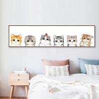 新款3d精准印花十字绣客厅卧室卡通动物可爱猫咪简约现代儿童挂画