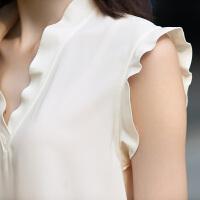 女装2018夏季新款荷叶边领无袖衬衫休闲纯色上衣女