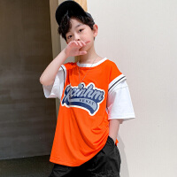 木木屋2021夏季新款男童短袖T恤假两件中大童篮球运动韩版潮宽松洋气帅气
