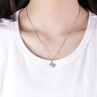 S925女士贝壳珍珠吊坠项链银小清新韩版简约学生百搭银锁骨链女