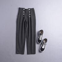 C0FSK18秋冬季韩版新款高腰假纽扣双口袋休闲裤
