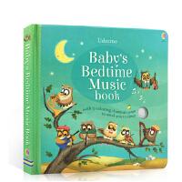 英文原版 Baby's Bedtime Music Book 睡前晚安音乐童歌谣儿歌伴奏发声书亲子共读含5首轻音乐绘本