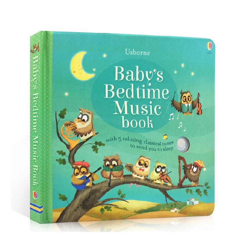 英文原版 Baby's Bedtime Music Book 睡前晚安音乐童歌谣儿歌伴奏发声书亲子共读含5首轻音乐绘本Usborne 2-3-6岁启蒙纸板洞洞书