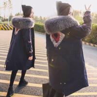 羽绒服女中长款2018冬季新款韩版真大毛领宽松外套韩国工装加厚潮 藏青色