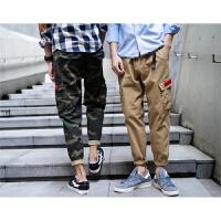 工装裤男士迷彩潮牌小脚裤男长裤子 同款修身青少年休闲裤