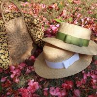 绑带拉菲草帽女夏出游防晒遮阳帽海滩度假平顶小礼帽海边沙滩草帽 可调节