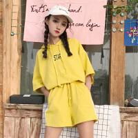 韩版运动休闲套装夏装女装连帽短袖T恤上衣+阔腿短裤两件套学生潮 均码 (160/84A)