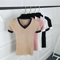 春夏装新款韩版V领时尚百搭撞色半袖针织衫弹力修身上衣女打底衫