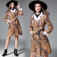 欧洲站时尚女士印花 皮毛一体女大衣外套皮草中长款