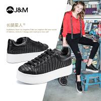 jm快乐玛丽2018秋季新款厚底增高系带女鞋学生黑色休闲鞋子86026W