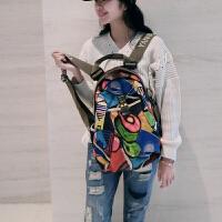 阎双创造 新款民族风专柜女包 2093-3加索韩版丝光棉麻帆布包 大容量旅行运动背包学生书包