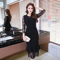 蕾丝连衣裙女夏夏季新款女装修身裙子名媛黑色鱼尾裙长裙夜场