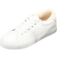 秋冬季2018新款韩版小白鞋女加绒保暖加厚二棉鞋皮面百搭学生板鞋