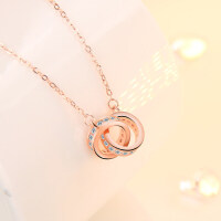 S925银项链女锁骨链日韩版简约圆双环吊坠玫瑰金送女友生日礼物
