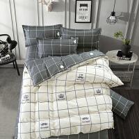 四件套床上用品被套宿舍1.2m米单人学生床单三件套3寝室被单被子4 浅灰色 简单爱白色w