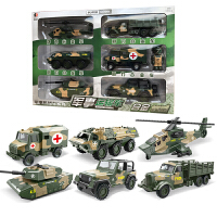 耐摔合金回力小汽车军事坦克装甲车儿童玩具车男孩工程车消防车 军事豪华6件套装 一个大礼盒装