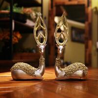 情侣对鹿摆件欧式家居饰品树脂工艺品结婚装饰品创意美式金色简约 一对