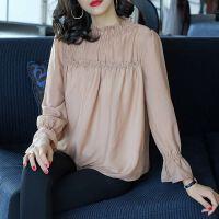 安妮纯宽松仙女气质雪纺衫2019初秋新款短袖衬衫女装韩版时尚荷叶领春夏女长袖上衣