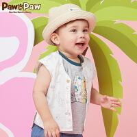 【3件3折 到手价:107】Pawinpaw卡通小熊童装夏款男宝宝婴幼儿圆领印花无袖衬衫萌
