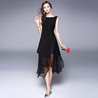 新款不规则中长款a字裙黑色小礼服裙子拼接欧根纱连衣裙女夏